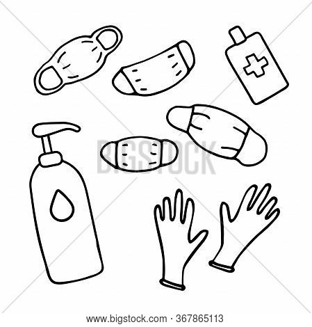 Medical Protective Doodle Set. Hand-drawn Masks, Gloves, Soap, Hand Disinfectant. Means Of Protectio