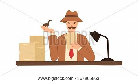 Detective Solving Crime Sitting At Desk With Stack Of Document Vector Flat Illustration. Male Inspec