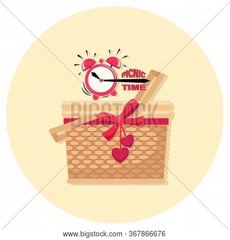 Basket Lunch. Picnic Time. Alarm Clock. Picnic At The Park. Bbq Time. Vector Illustration Isolated