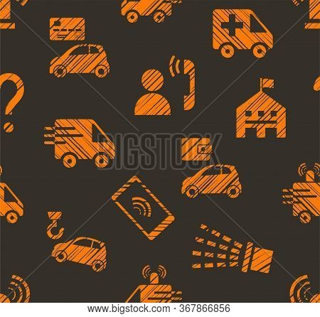 Emergency Service, Seamless Pattern, Color, Hatching, Gray With Orange, Vector. Emergency Medical An