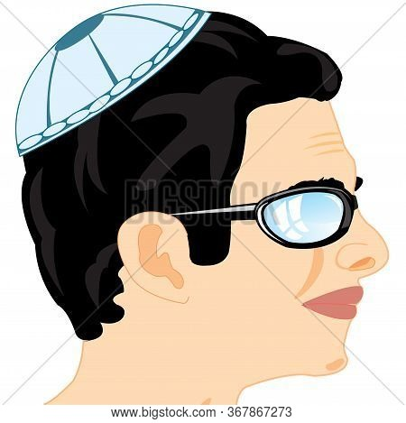 Man To Jewish Nationality In Headdress Skullcap