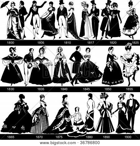 1800-1900 mode silhouetten