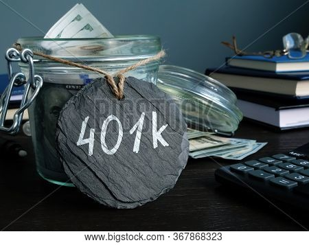 Jar With Savings For Retirement And 401k Label.