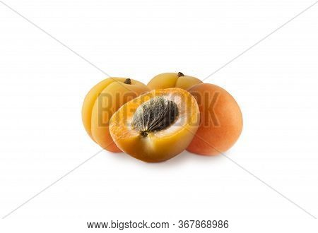 Ripe Apricots Isolate On A White. Apricots Isolated On White Background. Ripe Apricots With Copy Spa