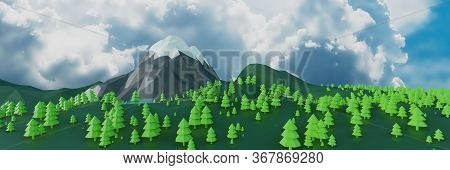 Lowpoly Landscape Nature With Mountains Trees And Clouds Sunset Background Minimal Panorama Animatio