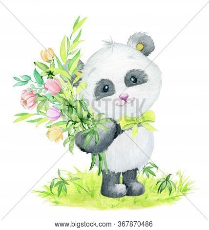 Panda, Standing On The Lawn, With A Bouquet Of Bamboo And Flowers. Watercolor Illustration Of A Cute