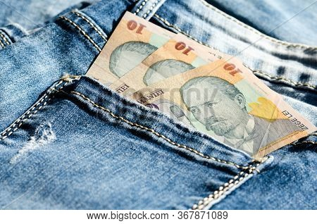 Concept Regarding Savings And Poverty Or Payment Of Monthly Bills   Represented With Romanian Lei Ba