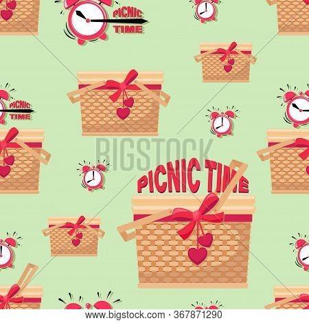 Picnic Background. Picnic Time. Basket And Alarm Clock. Picnic In The Park. Bbq Time. Vector Illustr