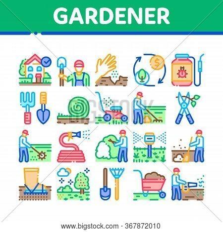 Gardener Worker Instrument Icons Set Vector. Gardener Shovel And Rake, Lawn Mower And Watering Hose,