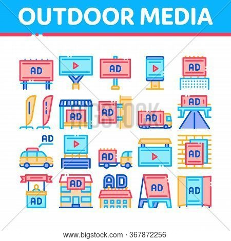 Outdoor Media Advertising Promo Icons Set Vector. Advertising Billboard And Tablet, Poster And Banne