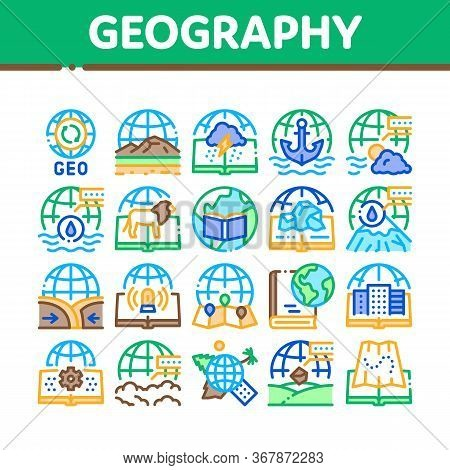Geography Education Collection Icons Set Vector. History And Urban Geography, Climatology And Oceano
