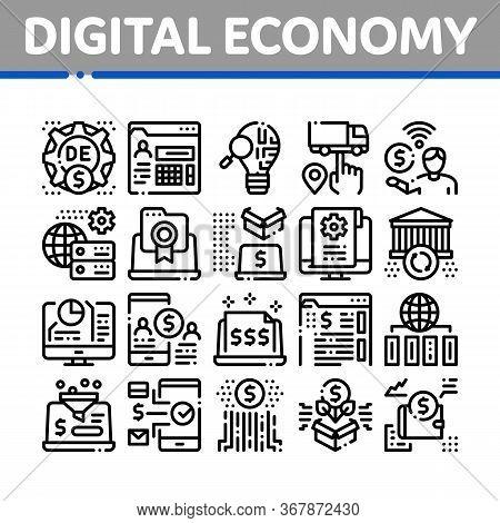Digital Economy And E-business Icons Set Vector. Digital Economy And E-commerce, Idea Research And C