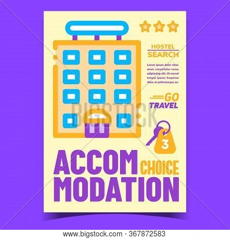 Accommodation Choice Creative Promo Banner Vector. Motel Building For Tourist Traveler Accommodation