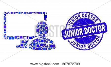 Geometric Online Doctor Mosaic Icon And Junior Doctor Seal Stamp. Blue Vector Rounded Distress Stamp