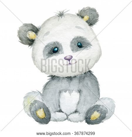 Panda, A Cute Animal, On An Isolated Background. Watercolor Drawing, Pandas.