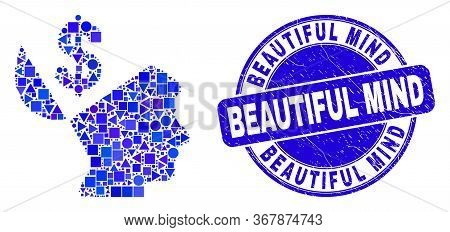 Geometric Banker Open Mind Mosaic Icon And Beautiful Mind Seal Stamp. Blue Vector Round Grunge Seal