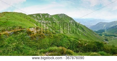 Old Military Trench Since The First World War Overgrown With Thick Grass On The Mountain Slope In Th