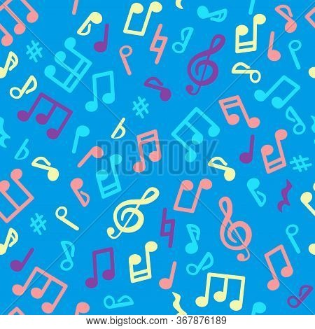 Abstract Music Seamless Pattern Of Music Notes.