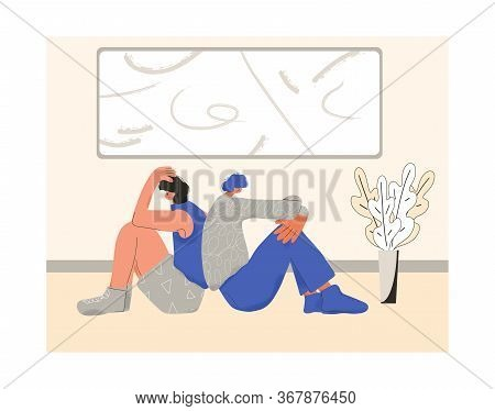 Young Couple After Quarrel Sitting Back To Back On The Floor Of Their Room. Communication Problems.
