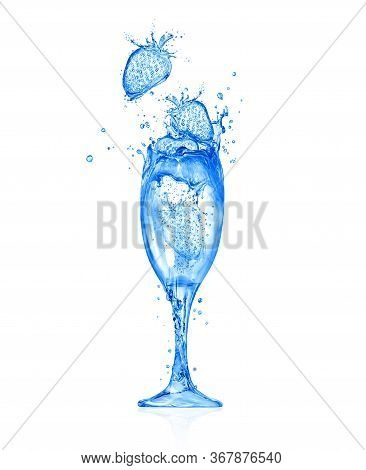 Conceptual Image Of A Glass Of Prosecco With Strawberries Made Of Water Splashes. 3d Illustration