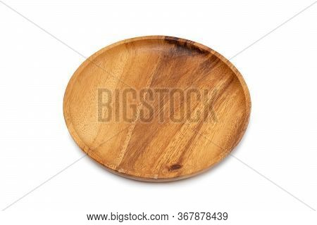 Empty Wooden Tray On White Background. Empty Wooden Tray