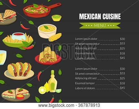 Mexican Traditional Food Menu Template, Mexican Cuisine Takeaway Meal, Restaurant Or Cafe Brochure,