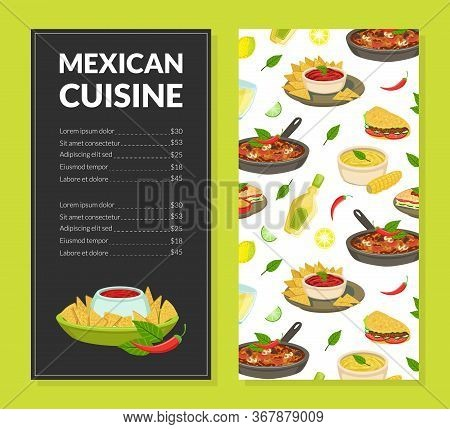 Mexican Cuisine Traditional Menu Template, Takeaway Meal, Restaurant Or Cafe Brochure, Delicious Foo