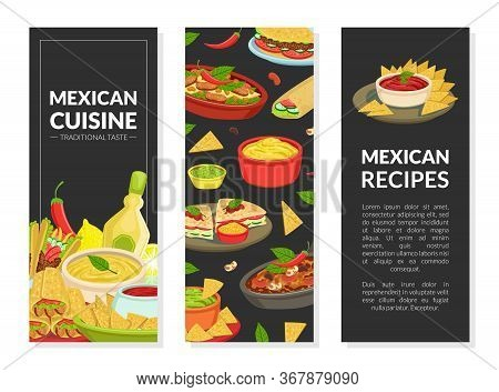 Mexican Cuisine Recipes Vertical Banners Set With Traditional Tasty Dishes And Space For Text, Takea