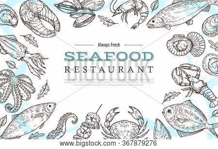 Sketch Seafood Banner. Drawing Fish Crab Lobster Salmon. Restaurant Cafe Menu Vintage Poster Or Flye