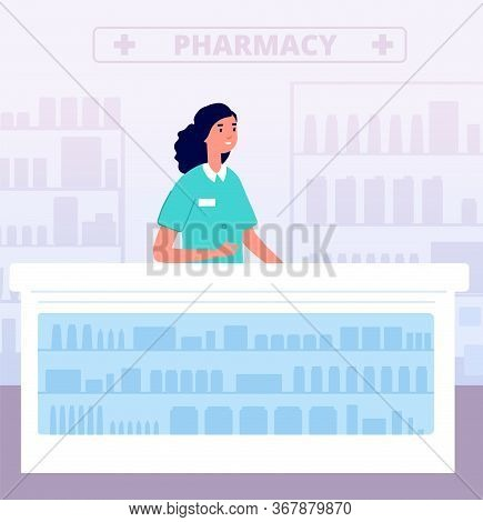 Pharmacist. Pharmacy Store Medications, Hospital Drugstore. Pharmaceutical Nurse Behind Counter. Fla
