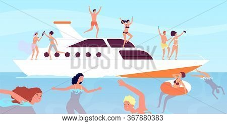 Yacht Cruise. Luxury Men Wine Party On Boat. Outdoor Vacation Sexy Professional Models. Yachting, Fr