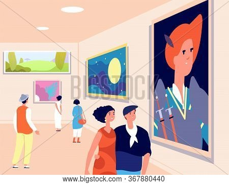 Art Museum. Modern Artist Exhibition, Contemporary Gallery. People Looking At Artistic Paintings. Ex
