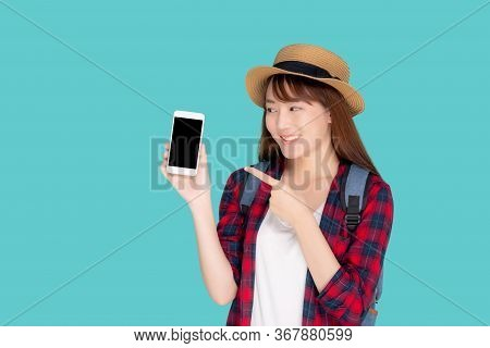Beautiful Young Asian Woman Showing Smart Mobile Phone For Presenting And Pointing Something In Trav