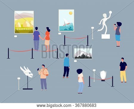 Art Gallery Visitors. People In Museum, Exhibition Of Paintings And Antique Exhibits. Tour Of Galler
