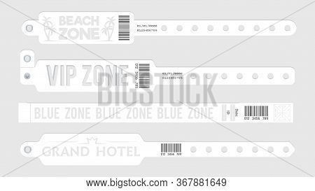 White Event Bracelets. Party Entrance Tickets, Wristband Mockup. Paper Music Sport Open Air Bracelet