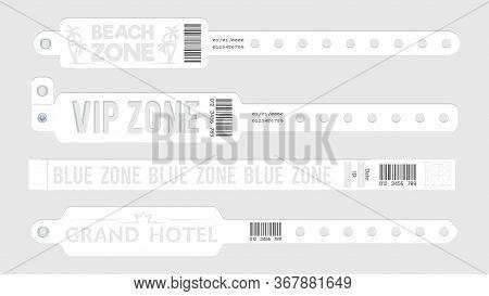 White Event Bracelets. Party Entrance Tickets, Wristband Mockup. Paper Music Sport Open Air Bracelet