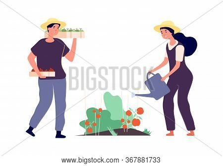Flat Farmers. Agricultural Workers, Fruits Vegetables Family Farm. Isolated Man With Wood Boxes. Wom