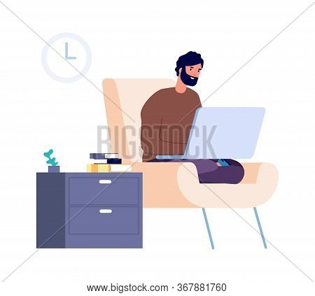 Freelance Worker. Distance Work, Man Stay Home. Isolation Or Quarantine Period. Flat Guy Chatting, S