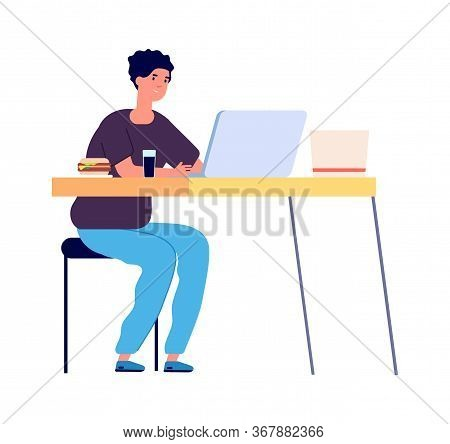 Online Study. Distance Learning, Student Watching In Laptop. Internet Surfing Or Online Chatting Wit