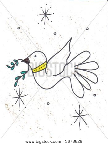 hand drawn graphics of a peace dove christmas symbol poster