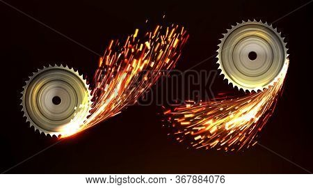 Circular Saw Blades With Sparks, Metal Work With Welding Fire Sparkling Flare Trail. Bright Glowing
