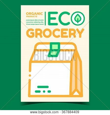 Eco Grocery Promotional Brochure Poster Vector. Blank Eco Paper Food Bag Package And Green Leaf Adve
