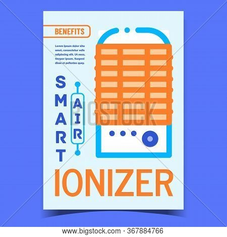 Air Ionizer Smart Device Promotional Poster Vector. Ionizer Electrical Gadget For Clean And Filter A