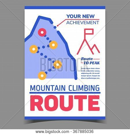 Mountain Climbing Route Creative Banner Vector. Route Direction Achievement To Peak Advertising Post