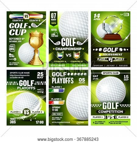 Golf Club Field Playground Game Posters Set Vector. Playing Ball And Golf Stick, Tee And Bag Sport E