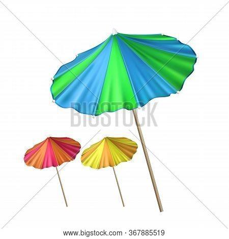 Umbrella Tool For Decorate Cocktail Set Vector. Umbrella Collection Of Different Color Ornamental Ex