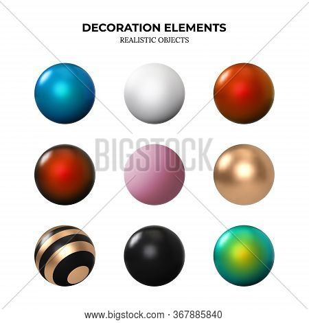 Set Of 3d Balls Isolated On White. Matte And Glossy Balls Made Of Gold, Red, Blue And Black Metall.
