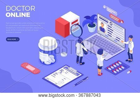 Isometric Online Medical Diagnostics And Doctors Workplace. Isometric Icons Laptop, X-ray, Patient M