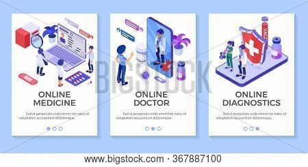 Isometric Online Medical Diagnostics And Doctors Workplace Banners. Doctors Advises Patient Online A