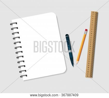 Spiral Notebook With Pen, Pencil And Ruler. Notepad For Note In School. A5 Paper Pad With Cover And